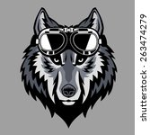 wolf head wearing a goggle | Shutterstock .eps vector #263474279