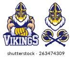 viking warrior mascot crossed...   Shutterstock .eps vector #263474309