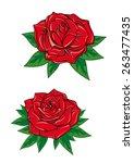 red roses with elegant fresh... | Shutterstock .eps vector #263477435
