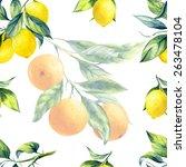 a seamless lemon and orange... | Shutterstock . vector #263478104