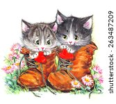 Stock photo funny kitten watercolor 263487209
