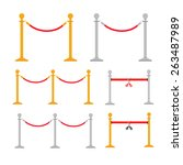 stand rope barriers set in flat ...