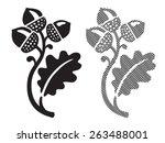 oak leaf with acorns. eps 8 ... | Shutterstock .eps vector #263488001