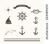 vector set of nautical elements ... | Shutterstock .eps vector #263489654