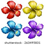 Set Of Colorful Hibiscus...