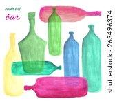 vector watercolor bottle ...   Shutterstock .eps vector #263496374