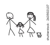 hand line drawing of a family... | Shutterstock .eps vector #263502137