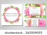 wedding invitation cards with... | Shutterstock .eps vector #263509055