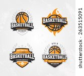 basketball championship logo set