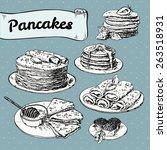 illustration of set of pancakes ... | Shutterstock .eps vector #263518931