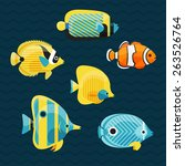 Cute Fishes Set  Vector...