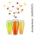 fruit drink in glasses and... | Shutterstock .eps vector #263529371