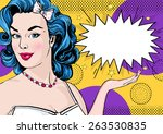 pop art illustration of woman... | Shutterstock . vector #263530835