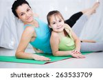 cute mother and daughter doing... | Shutterstock . vector #263533709