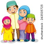 happy muslim family in... | Shutterstock .eps vector #263535725