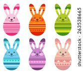 cute eastern egg shaped bunnies | Shutterstock .eps vector #263538665