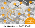 gray scale city and smart grid... | Shutterstock .eps vector #263550671