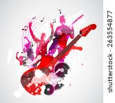 spatter music background with... | Shutterstock .eps vector #263554877