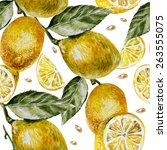 beautiful watercolor pattern... | Shutterstock .eps vector #263555075