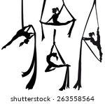 aerial silk dancer in vector...   Shutterstock .eps vector #263558564