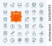 Stock vector thin lines web icon set pet vet pet shop types of pets 263563955