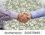men shaking hands against pile... | Shutterstock . vector #263570681