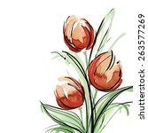 Watercolor Tulip. Vector...