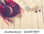set for sports activities on... | Shutterstock . vector #263597897