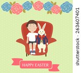 boy and the rabbit sitting on... | Shutterstock .eps vector #263607401