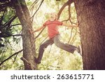Happy Boy Climbing A Tree. ...