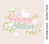 happy easter greeting card with ... | Shutterstock .eps vector #263617601