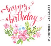 lettering happy birthday hand... | Shutterstock .eps vector #263621555
