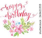 lettering happy birthday hand... | Shutterstock .eps vector #263621555