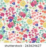 seamless cute flower vector... | Shutterstock .eps vector #263624627