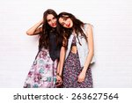 close up   portrait of two... | Shutterstock . vector #263627564