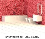 modern bathroom with red mosaic ... | Shutterstock . vector #26363287