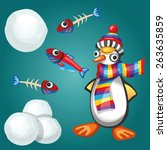 funny penguin with fish and... | Shutterstock .eps vector #263635859