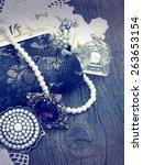 vintage handbag with... | Shutterstock . vector #263653154