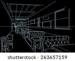 linear interior sketch of cafe...   Shutterstock .eps vector #263657159