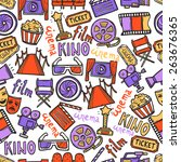 cinema seamless pattern with... | Shutterstock .eps vector #263676365