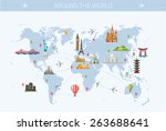 Illustration of vector flat design postcard with famous world landmarks icons on the map | Shutterstock vector #263688641