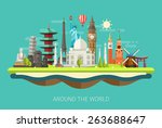 Illustration  of vector flat design postcard with famous world landmarks icons