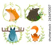 Wild Forest Animals Set. Fores...