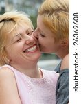the young girl kissing  mother. ...   Shutterstock . vector #26369608