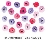lilac and pink watercolor... | Shutterstock .eps vector #263712791