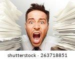 emotional stress  exhaustion ... | Shutterstock . vector #263718851