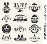 happy easter design collection  ... | Shutterstock .eps vector #263722649