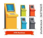 Постер, плакат: Colorful ATM Machines terminals