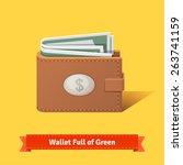 Stock vector wallet full of green dollars flat style vector illustration 263741159