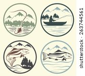 set of vintage labels with... | Shutterstock .eps vector #263744561